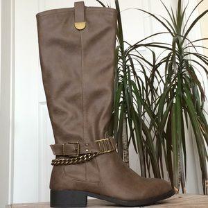 NIB Shoe Dazzle Brown Faux Leather Moto Boots